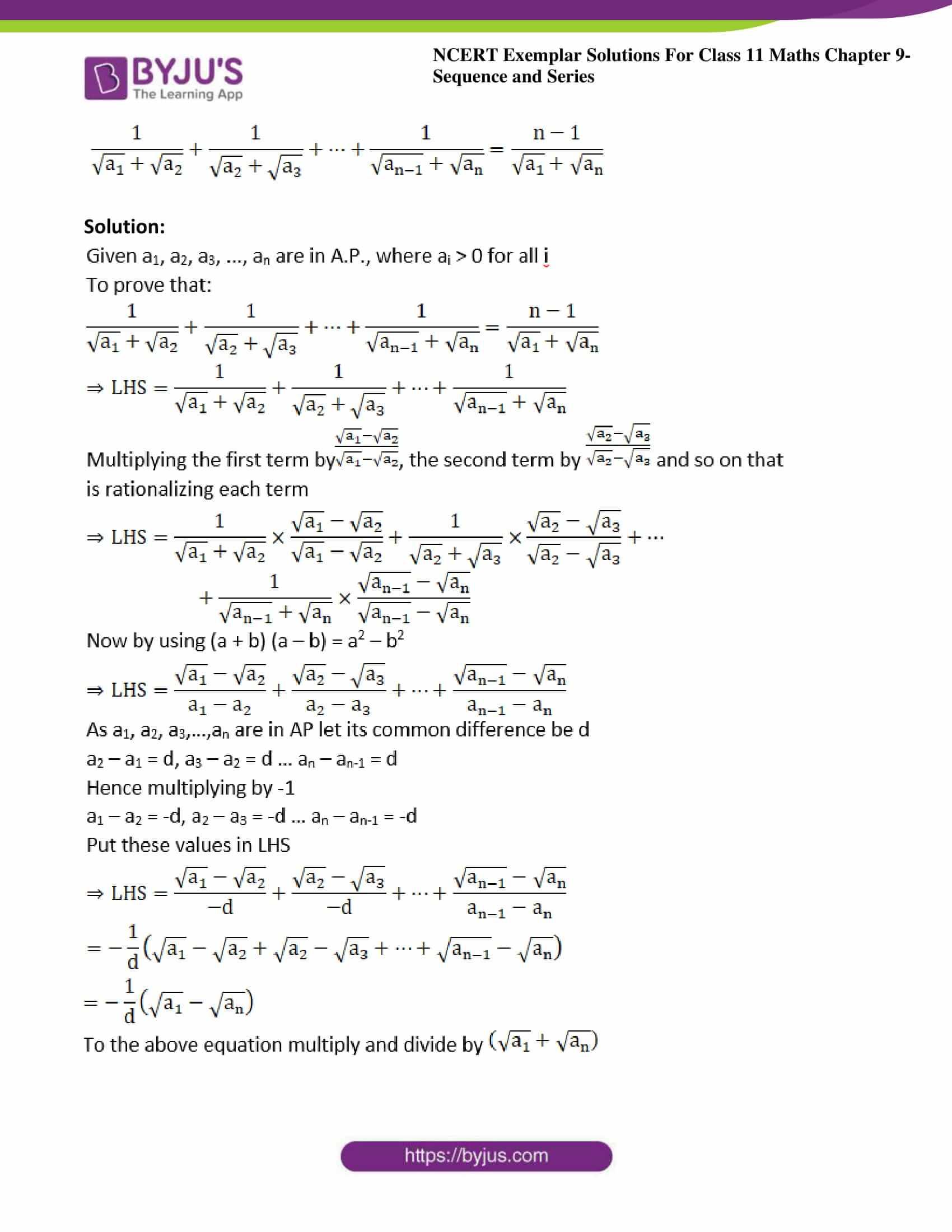 ncert exemplar sol class 11 maths chpt 9 sequence 10
