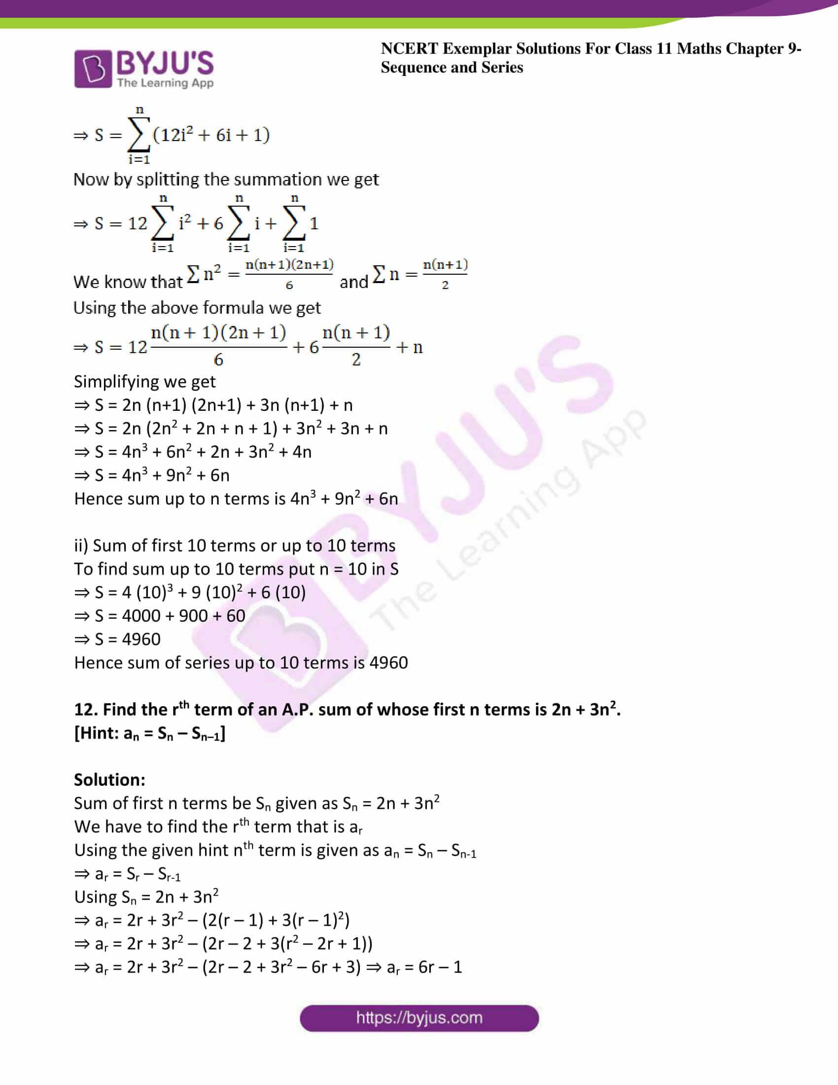 ncert exemplar sol class 11 maths chpt 9 sequence 12