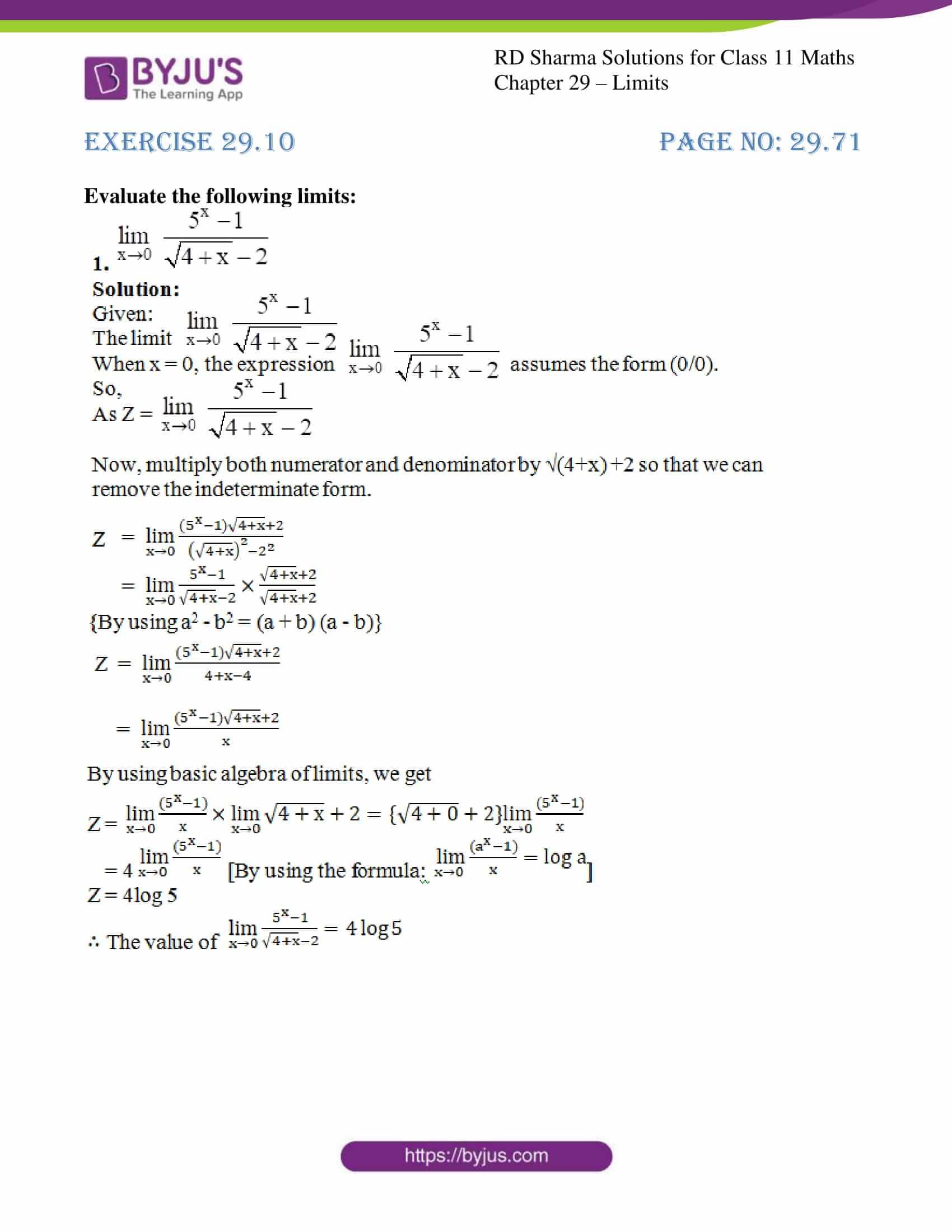 rd sharma class 11 maths chapter 29 ex 10 1