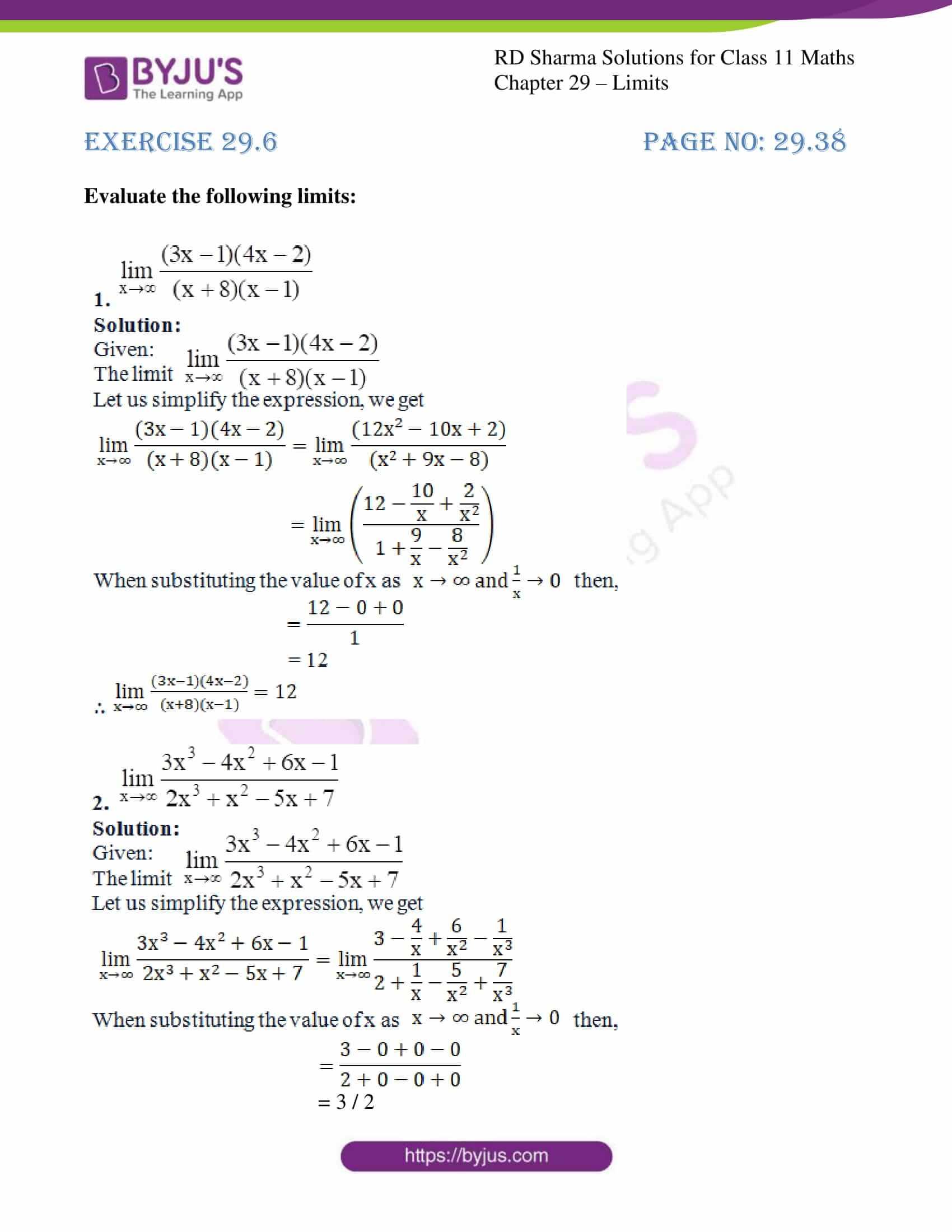 rd sharma class 11 maths chapter 29 ex 6 1