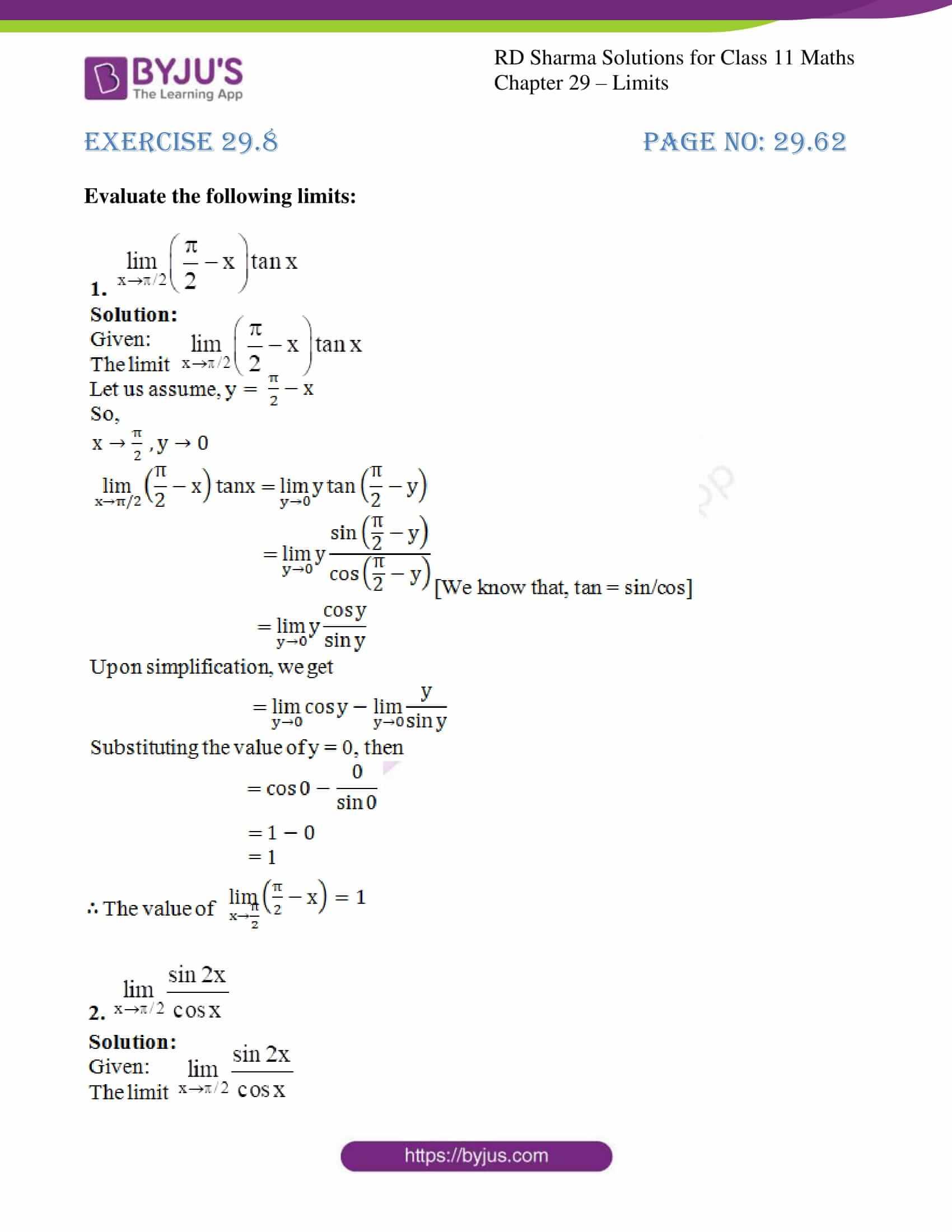 rd sharma class 11 maths chapter 29 ex 8 1