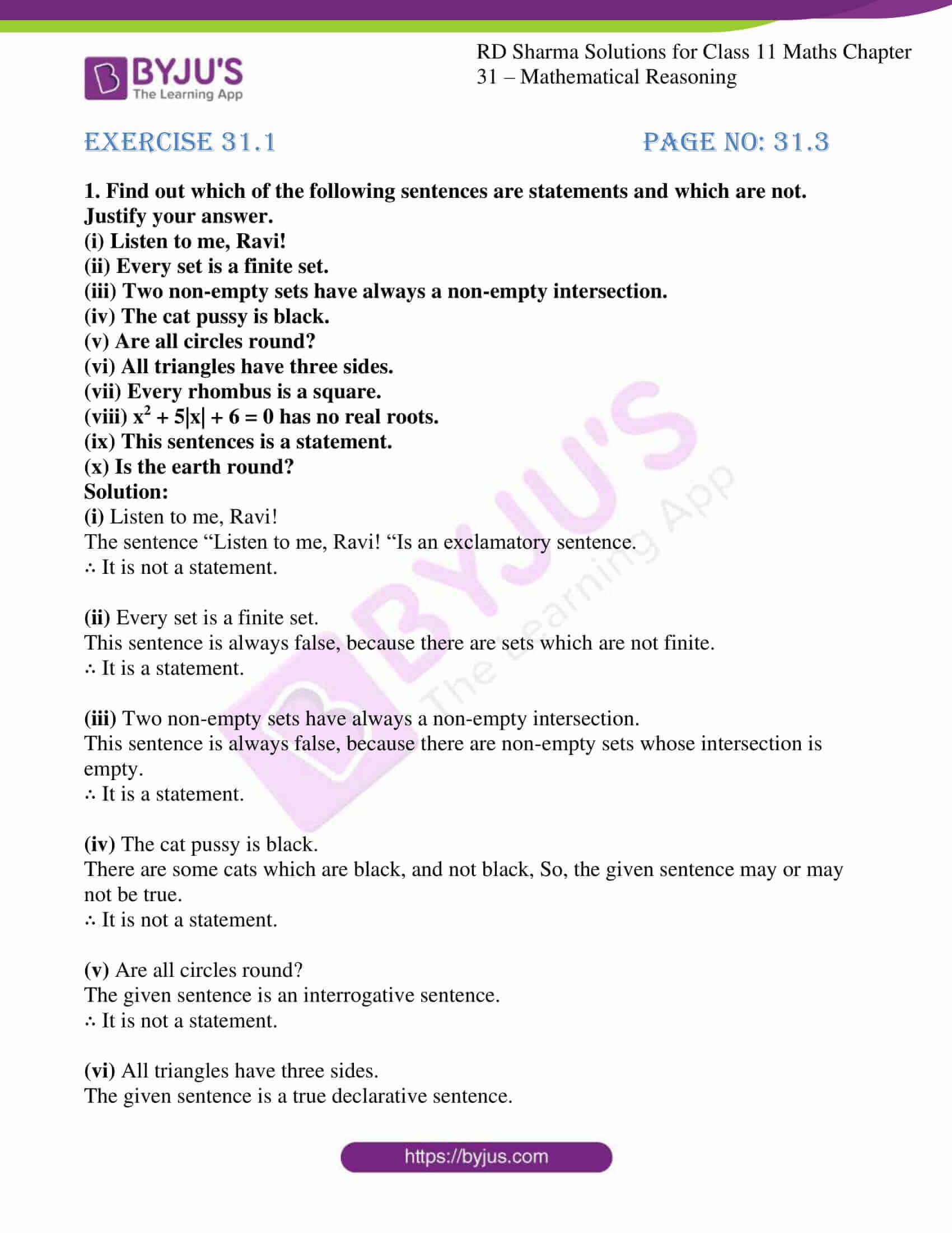 rd sharma class 11 maths chapter 31 ex 1 1