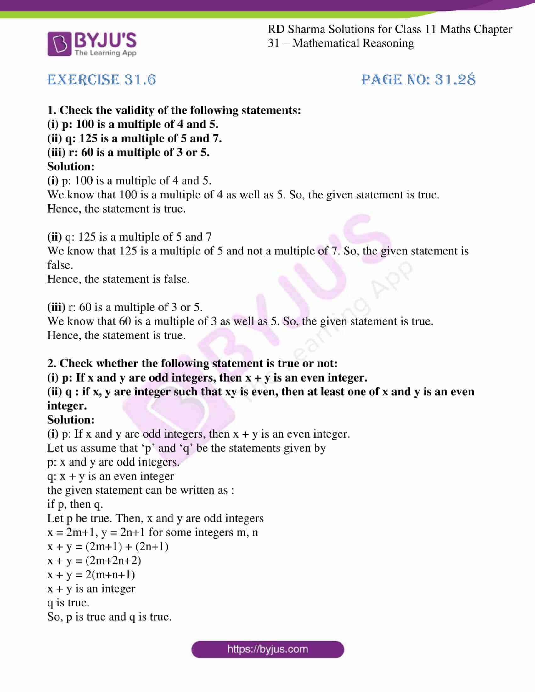 rd sharma class 11 maths chapter 31 ex 6 1
