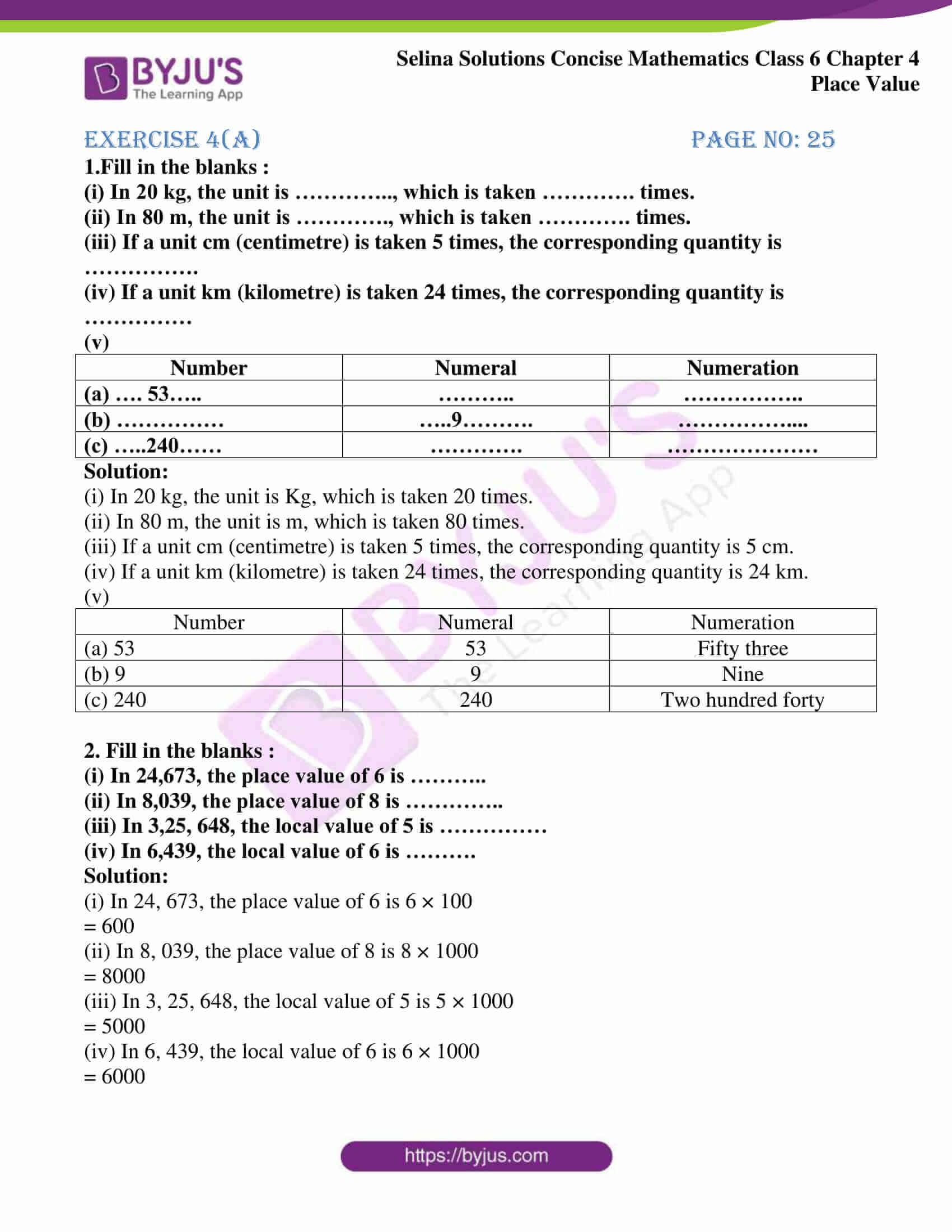 selina sol concise maths class 6 ch4 ex 4a 1