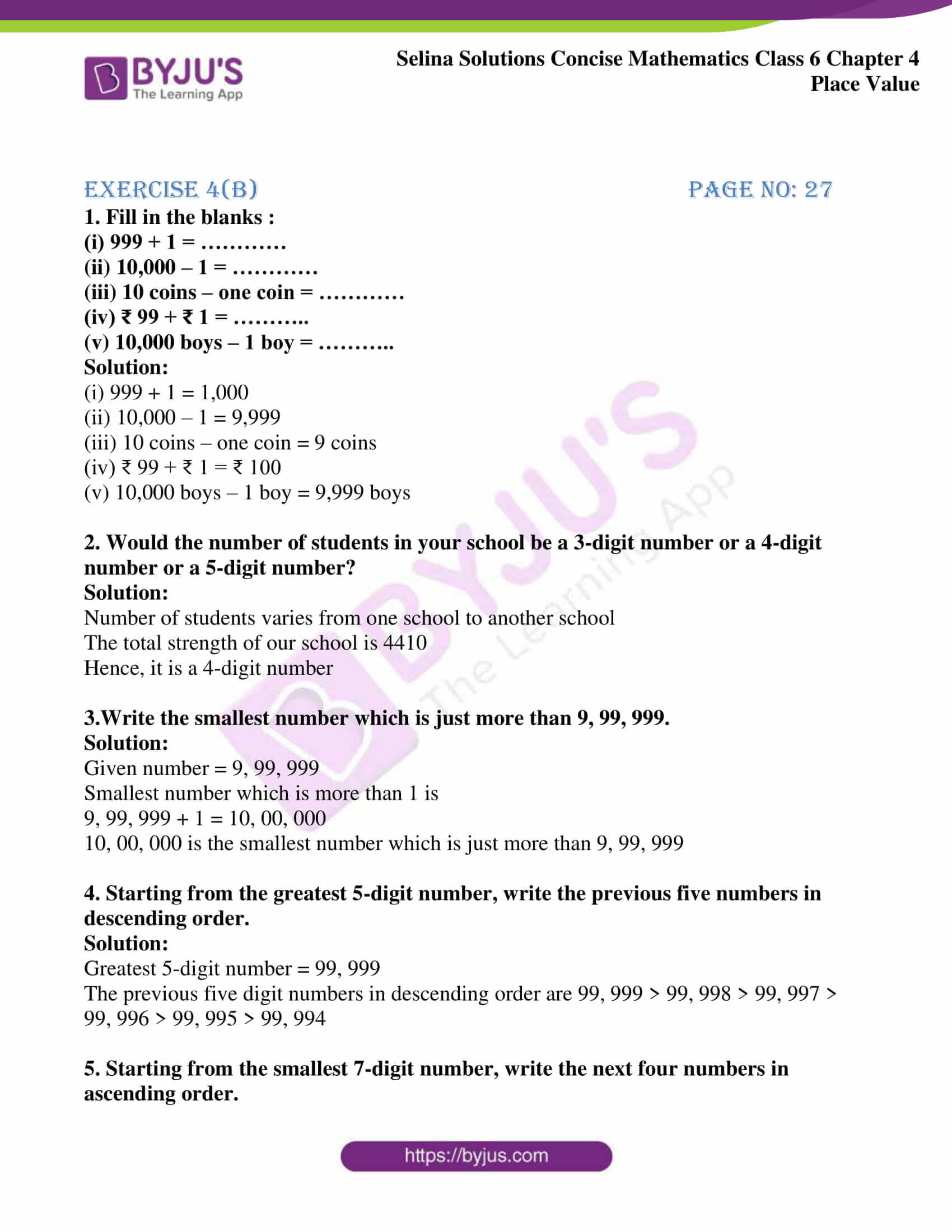 selina sol concise maths class 6 ch4 ex 4b 1