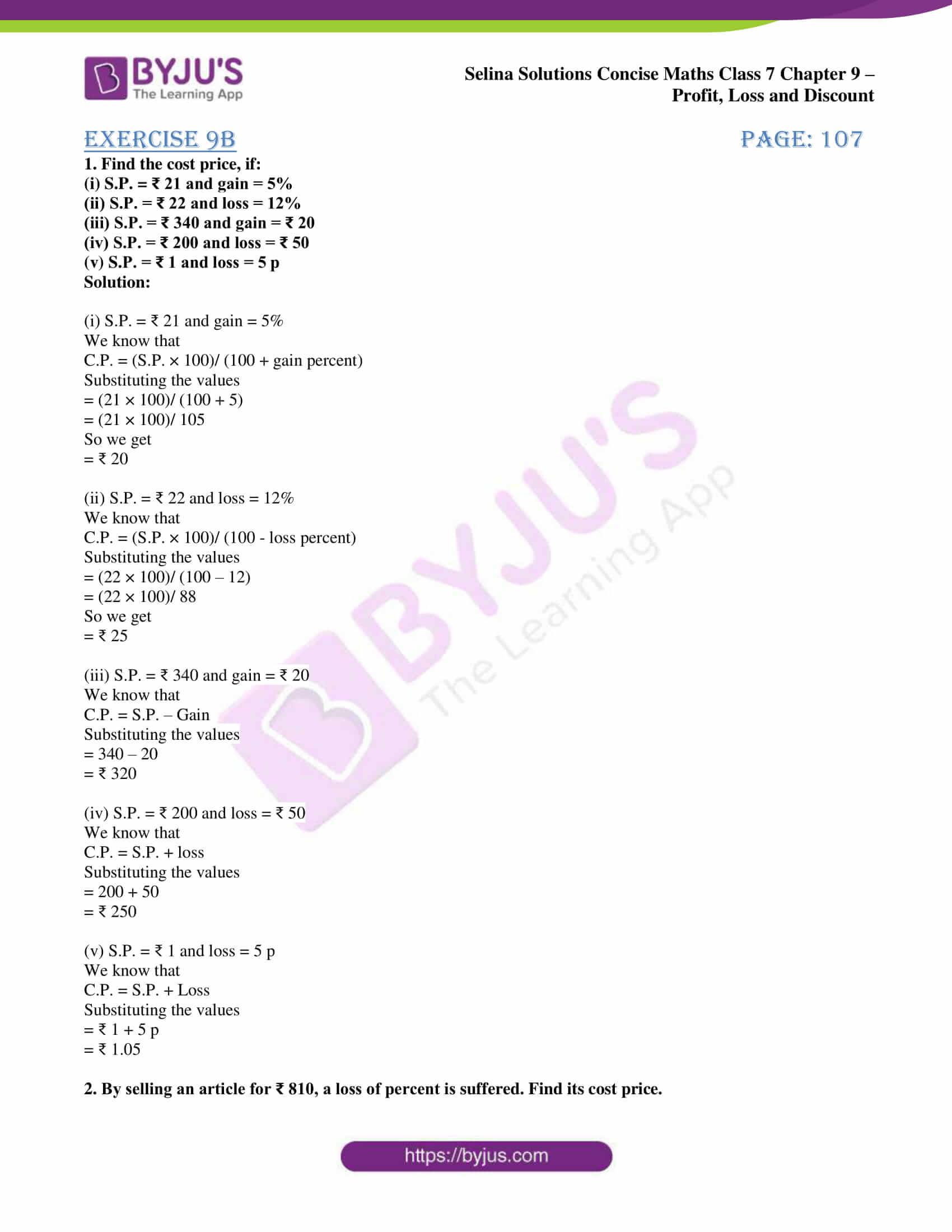 selina sol concise maths class 7 ch9 ex 9b 1