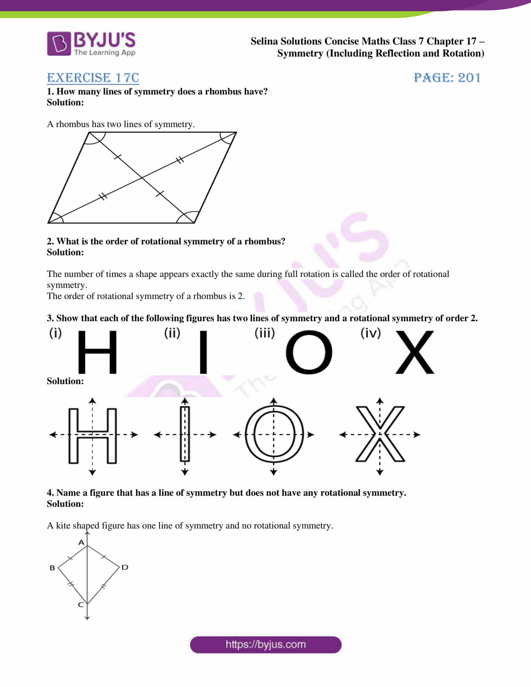 selina sol concise maths class 7 chapter 17 ex c 1