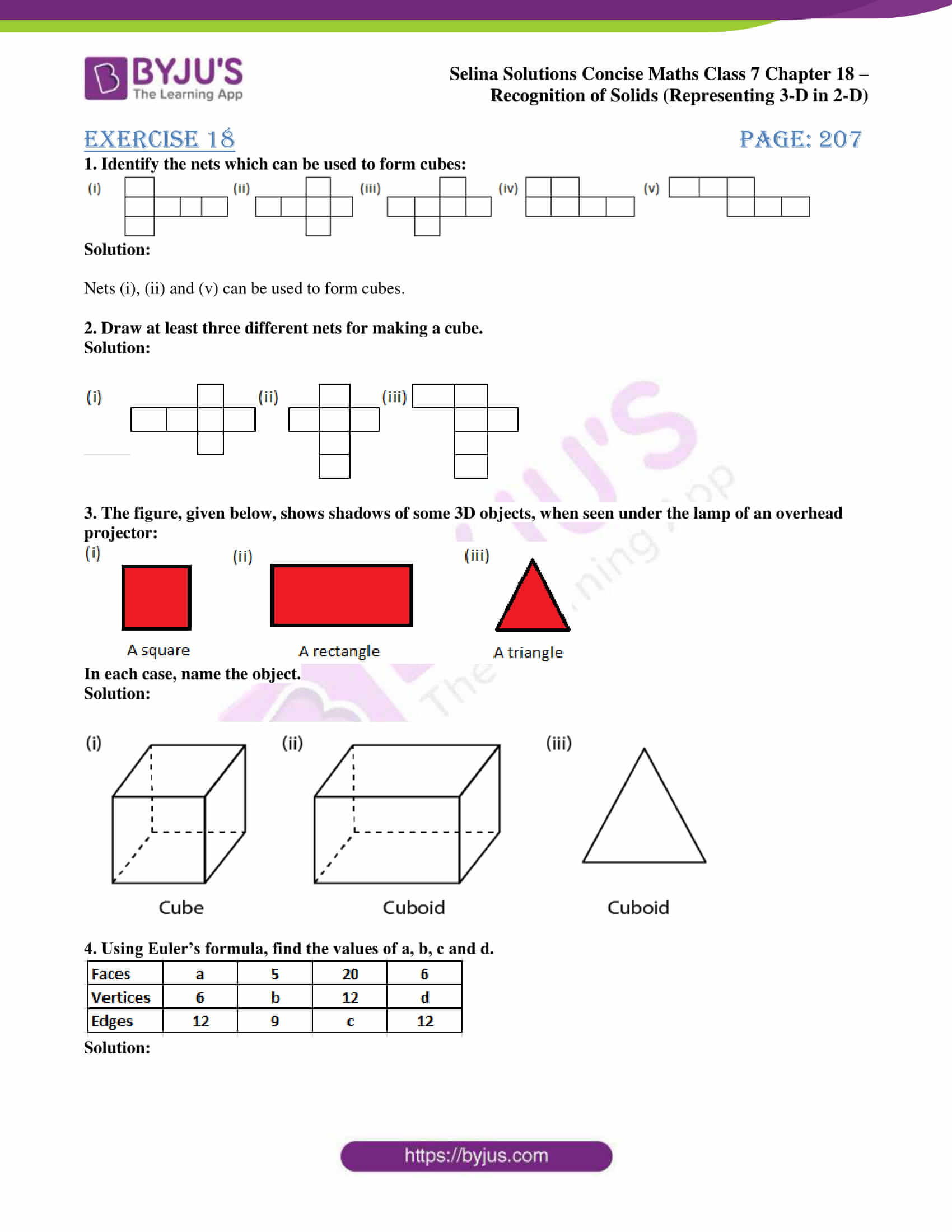 selina sol concise maths class 7 chapter 18 1