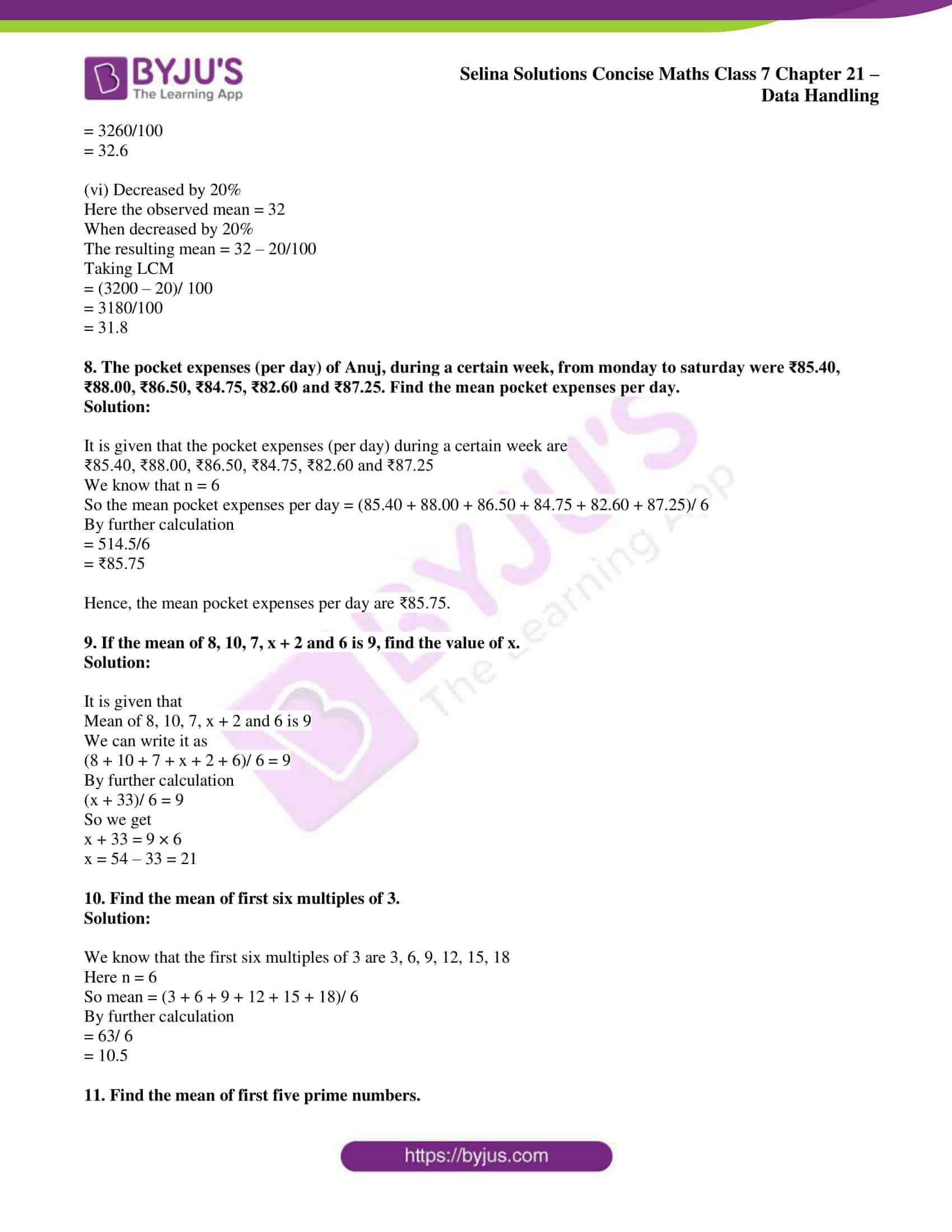 selina sol concise maths class 7 chapter 21 ex b 3