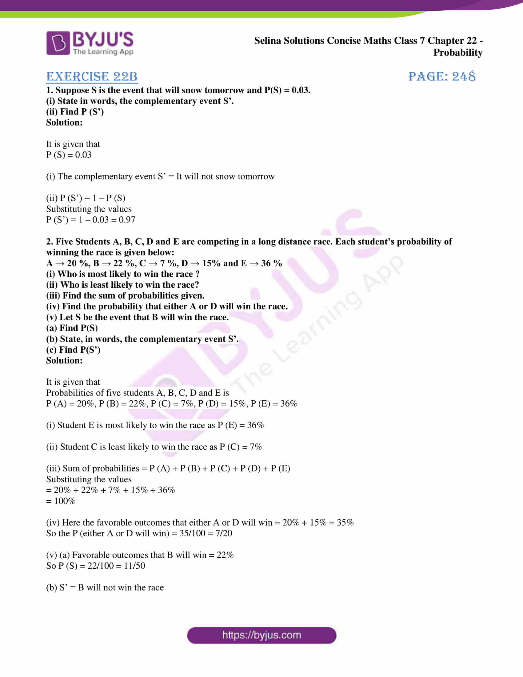 selina sol concise maths class 7 chapter 22 ex b 1