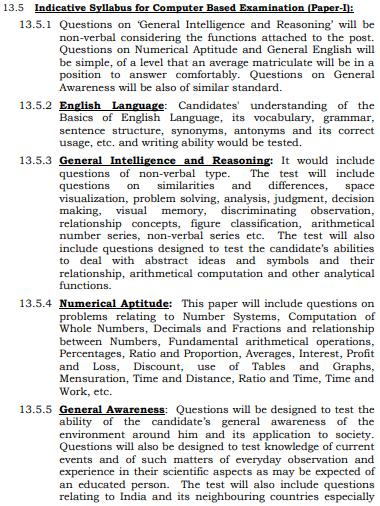 SSC MTS Syllabus Paper I