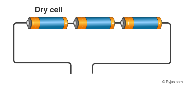 3 dry cells with connecting wires