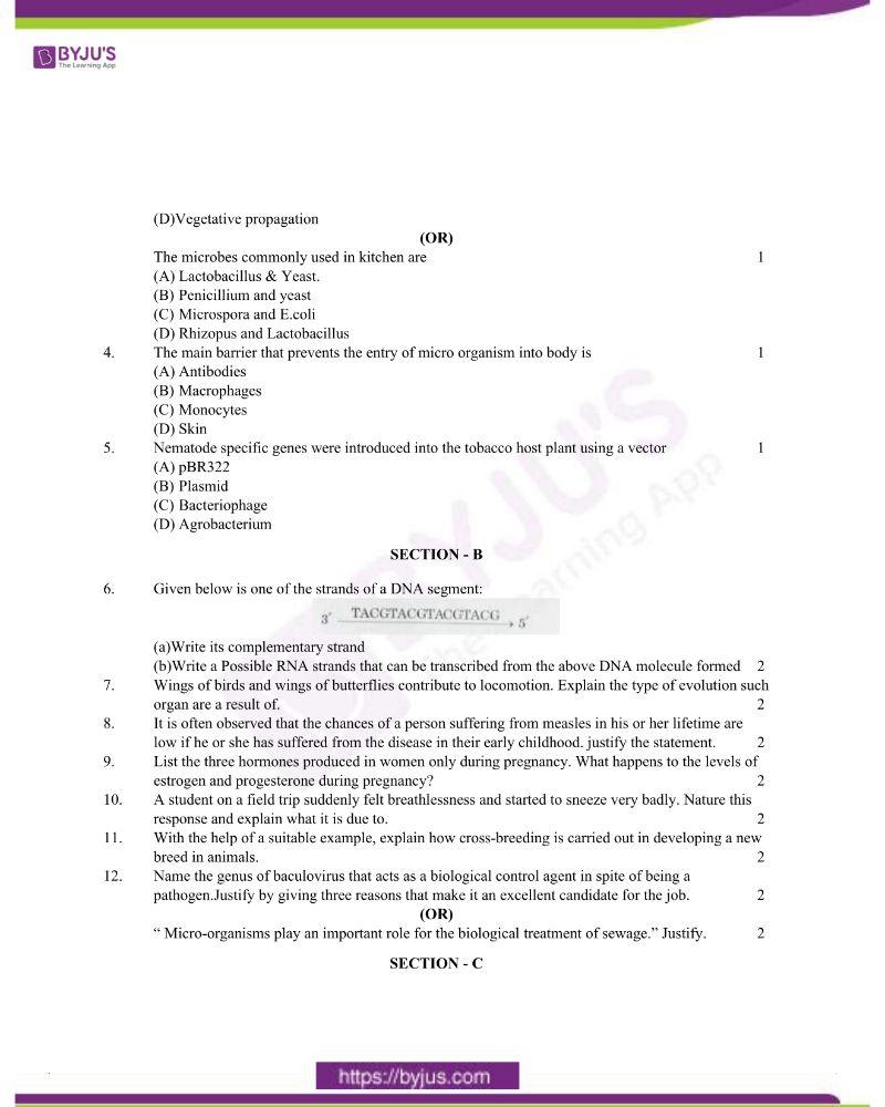 CBSE Class 12 Biology Question Paper 2020 Set 1 1