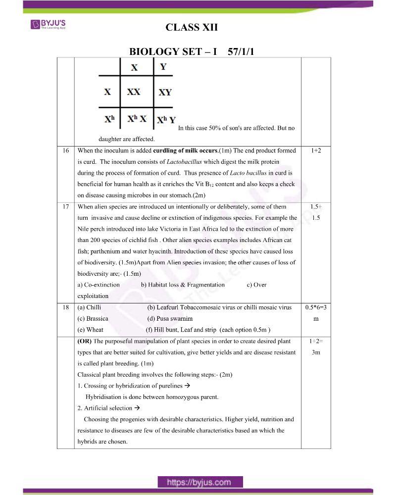 CBSE Class 12 Biology Question Paper Set 1 Solution 2020 3