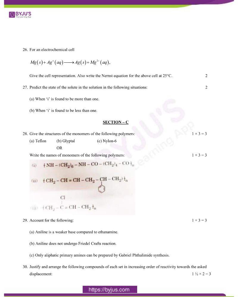 CBSE Class 12 Chemistry Question Paper 2020 Set 1 4