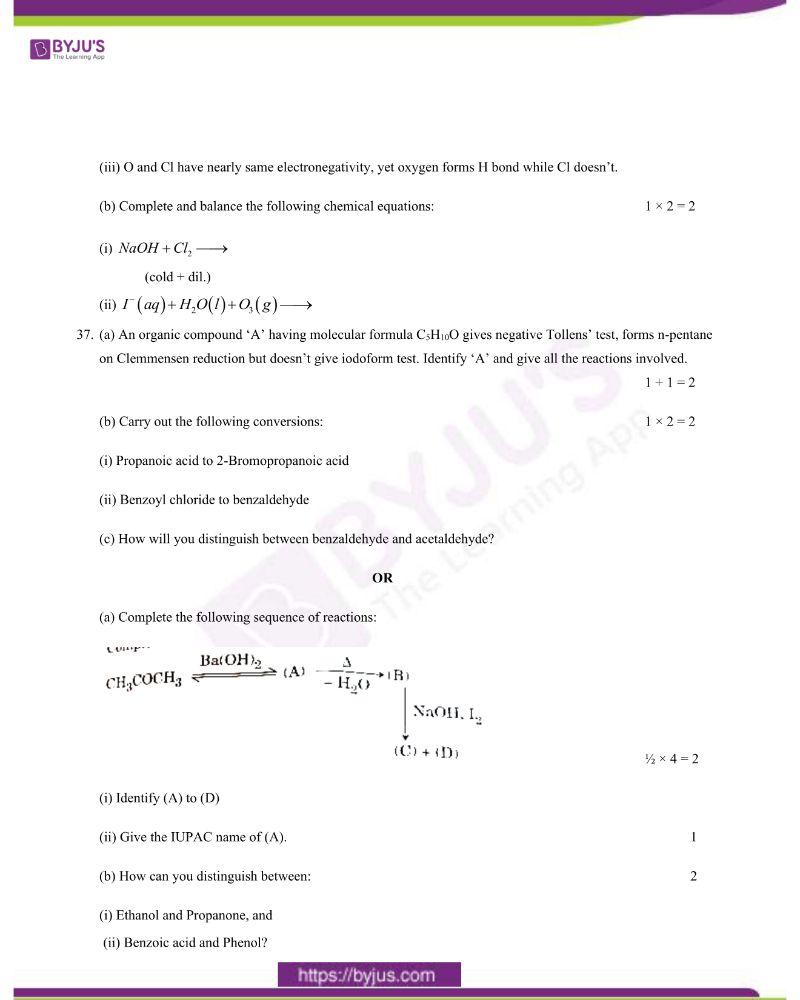 CBSE Class 12 Chemistry Question Paper 2020 Set 1 7