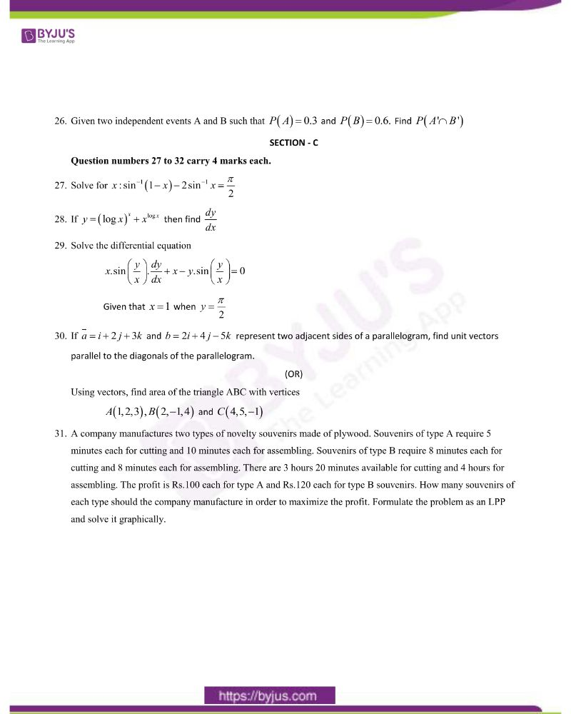 CBSE Class 12 Maths Question Paper 2020 Set 1 3