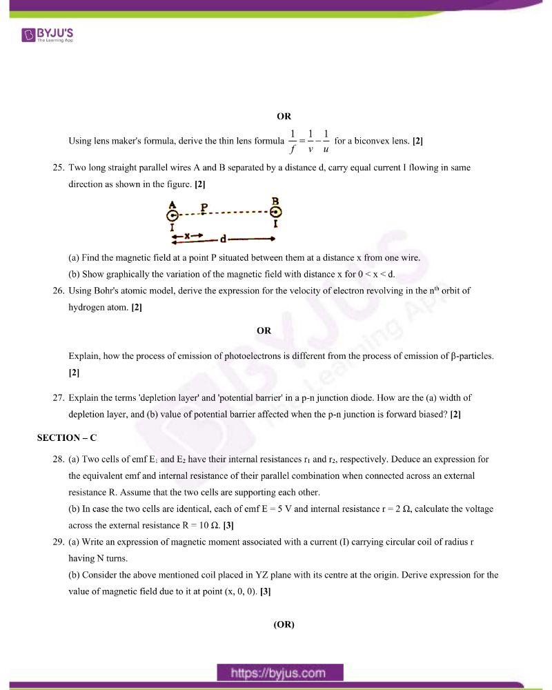 CBSE Class 12 Physics Question Paper 2020 Set 1 4