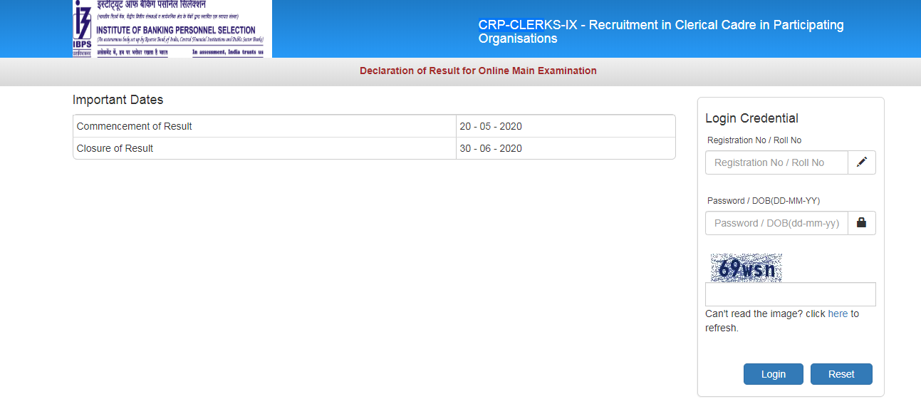 IBPS Clerk Mains Result 2019-20 Released