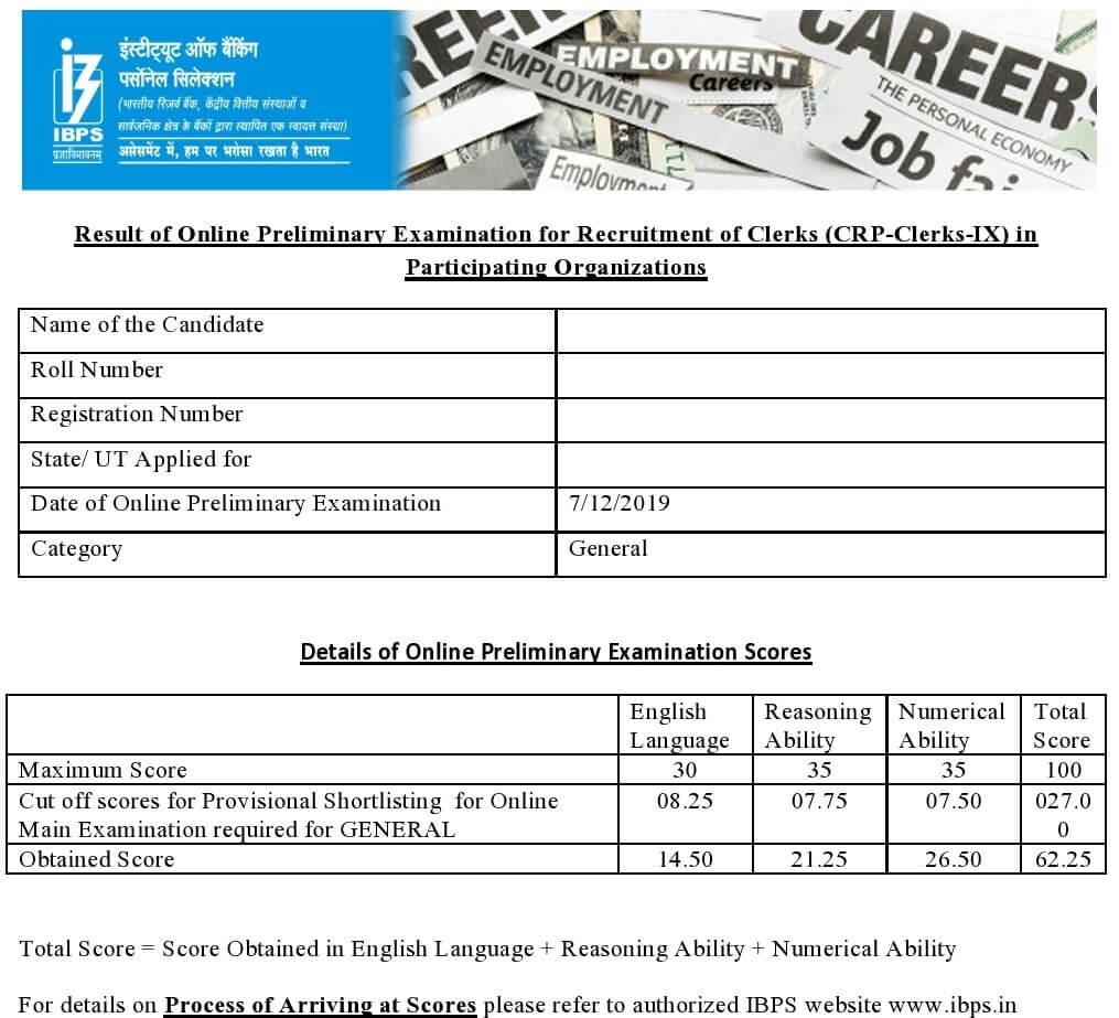 IBPS Clerk Score Card 2020 - IBPS Clerk Prelims Score Card 2019-20