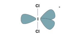 Distorted trigonal pyramidal Structure of ICl2^-