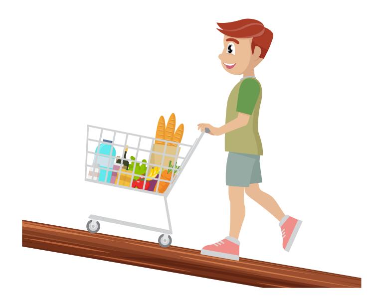 Boy pushing a shopping cart over an inclined plane