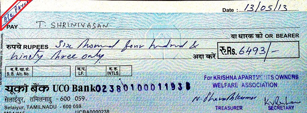 Types of Cheques - Account Payee Cheque