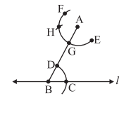 Steps of construction of a line parallel to a given line