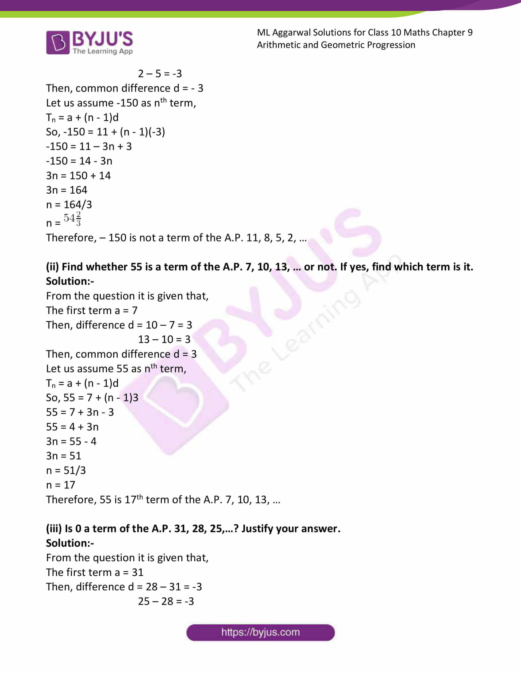 ml aggarwal solutions class 10 maths chapter 9 11