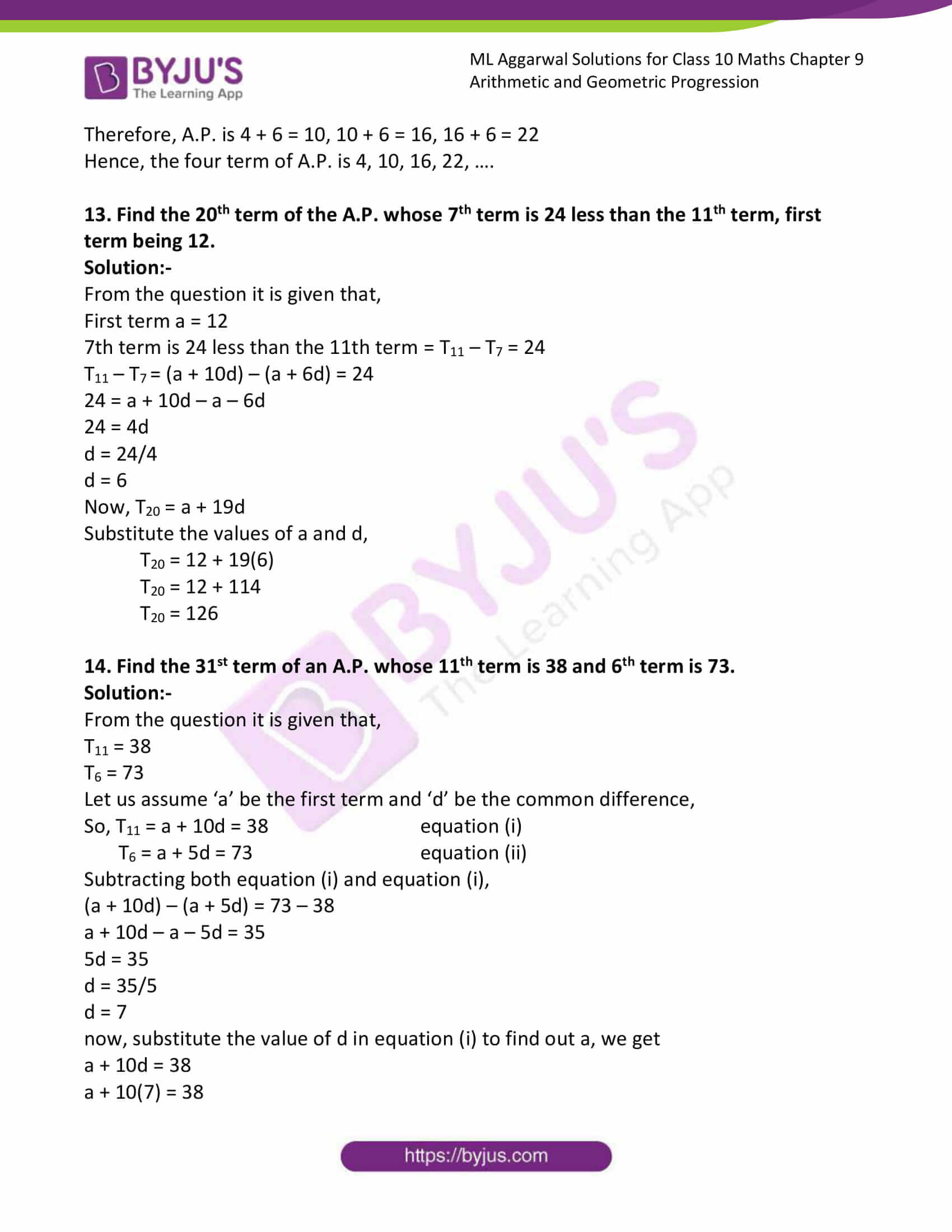 ml aggarwal solutions class 10 maths chapter 9 16