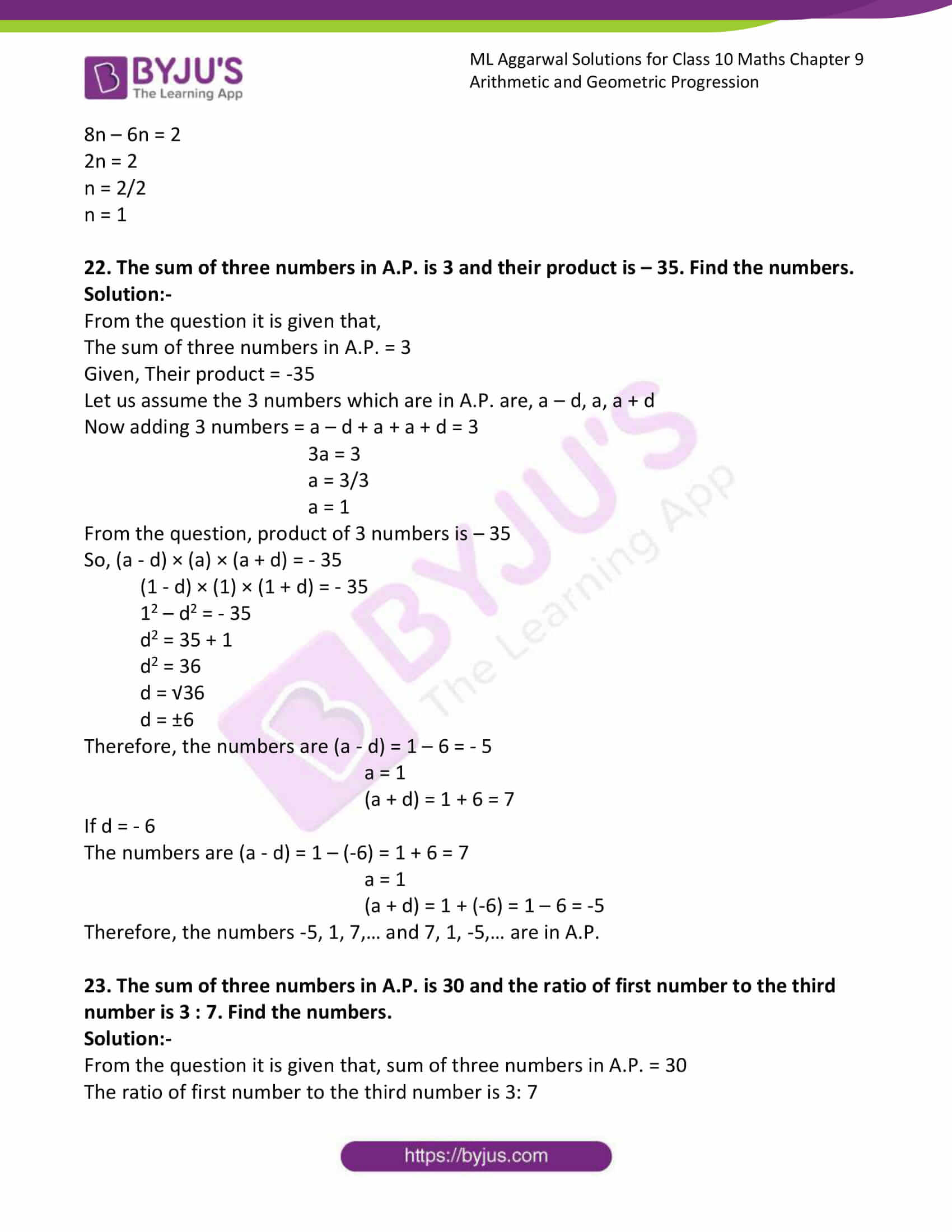 ml aggarwal solutions class 10 maths chapter 9 23