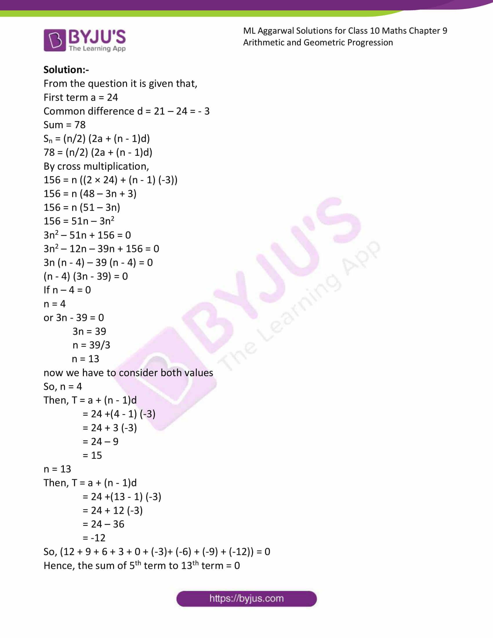 ml aggarwal solutions class 10 maths chapter 9 36