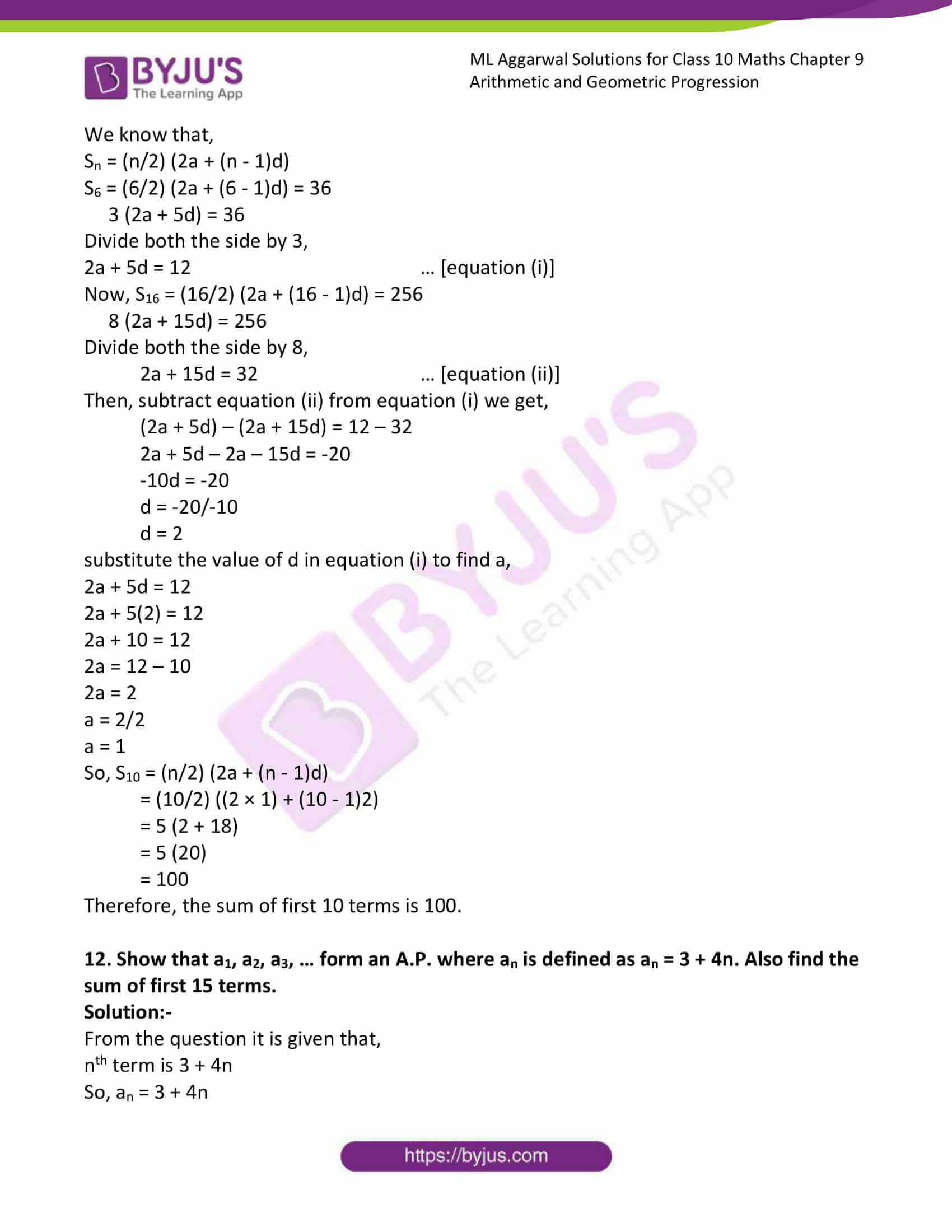 ml aggarwal solutions class 10 maths chapter 9 39