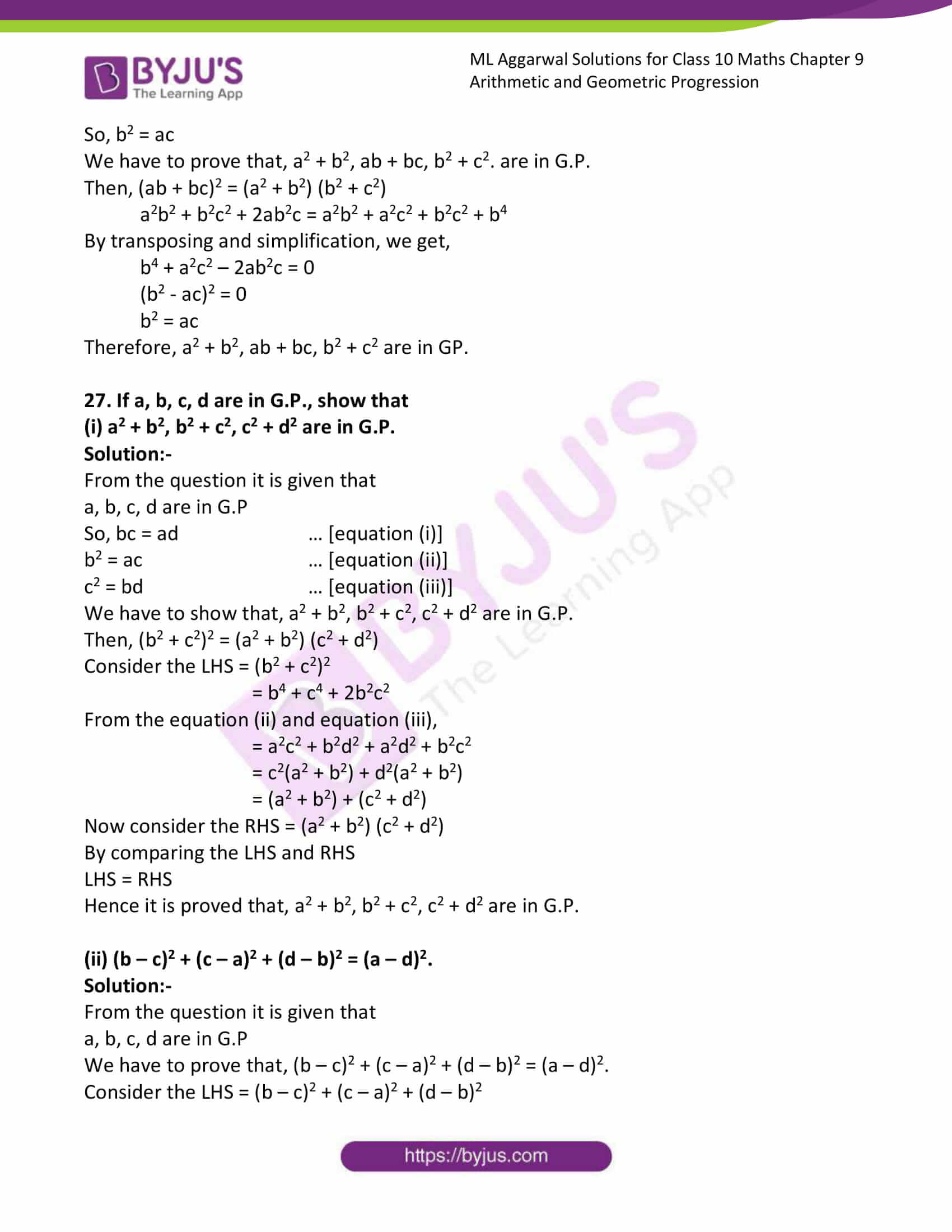 ml aggarwal solutions class 10 maths chapter 9 62