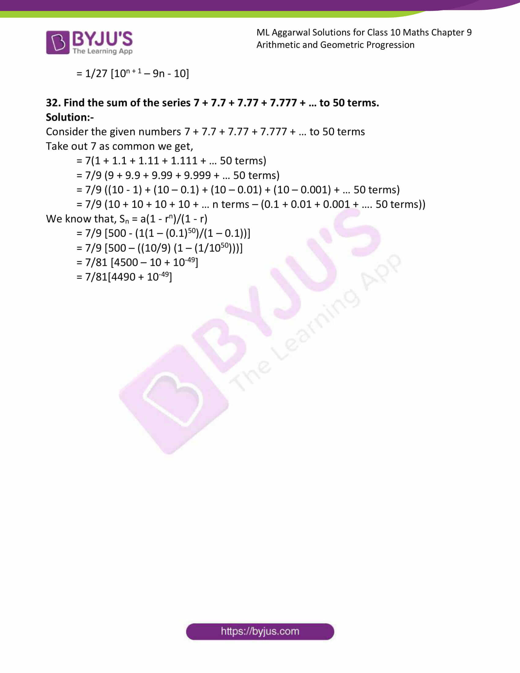 ml aggarwal solutions class 10 maths chapter 9 99