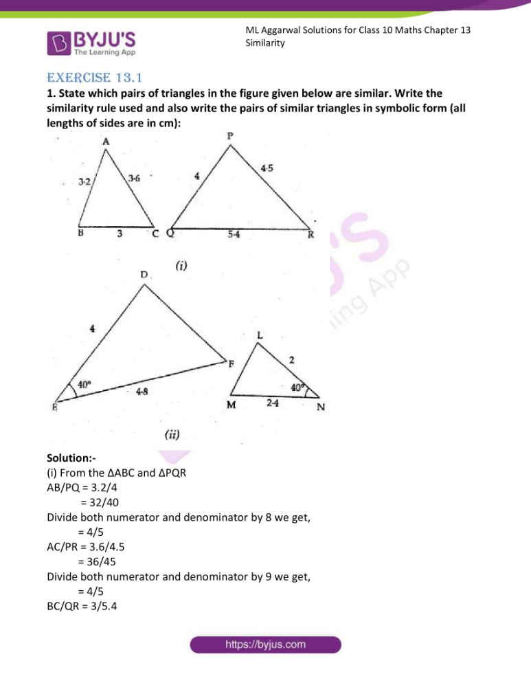 ml aggarwal solutions for class 10 maths chapter 13 similarity 01