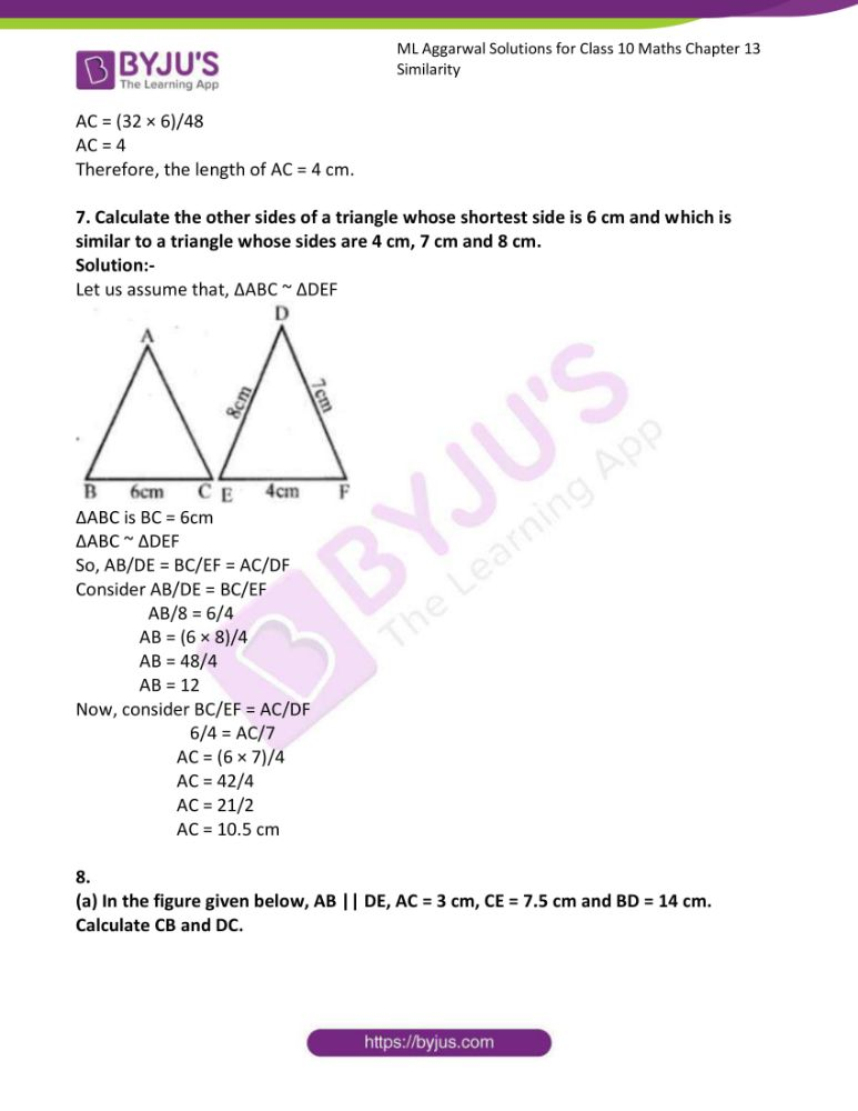 ml aggarwal solutions for class 10 maths chapter 13 similarity 05