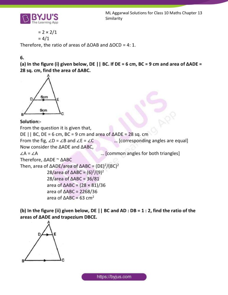 ml aggarwal solutions for class 10 maths chapter 13 similarity 40