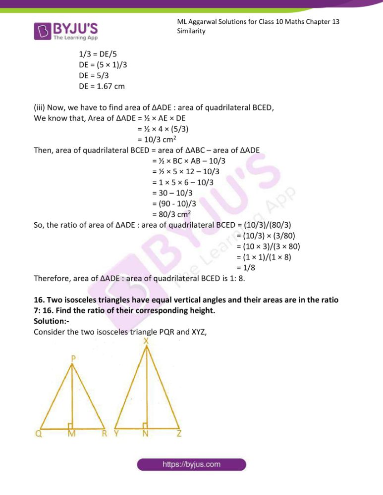 ml aggarwal solutions for class 10 maths chapter 13 similarity 55