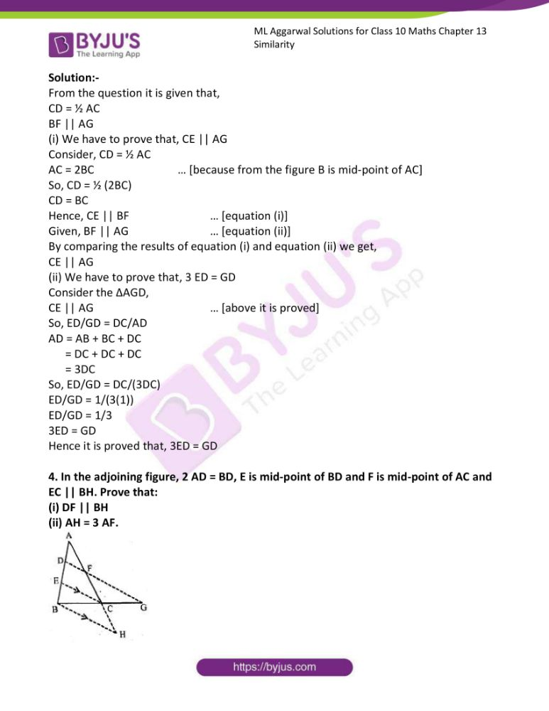 ml aggarwal solutions for class 10 maths chapter 13 similarity 63