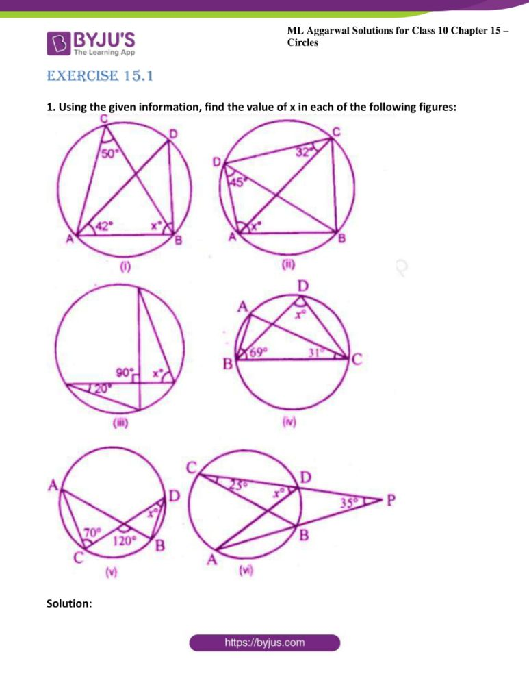ml aggarwal solutions for class 10 maths chapter 15 circles 01