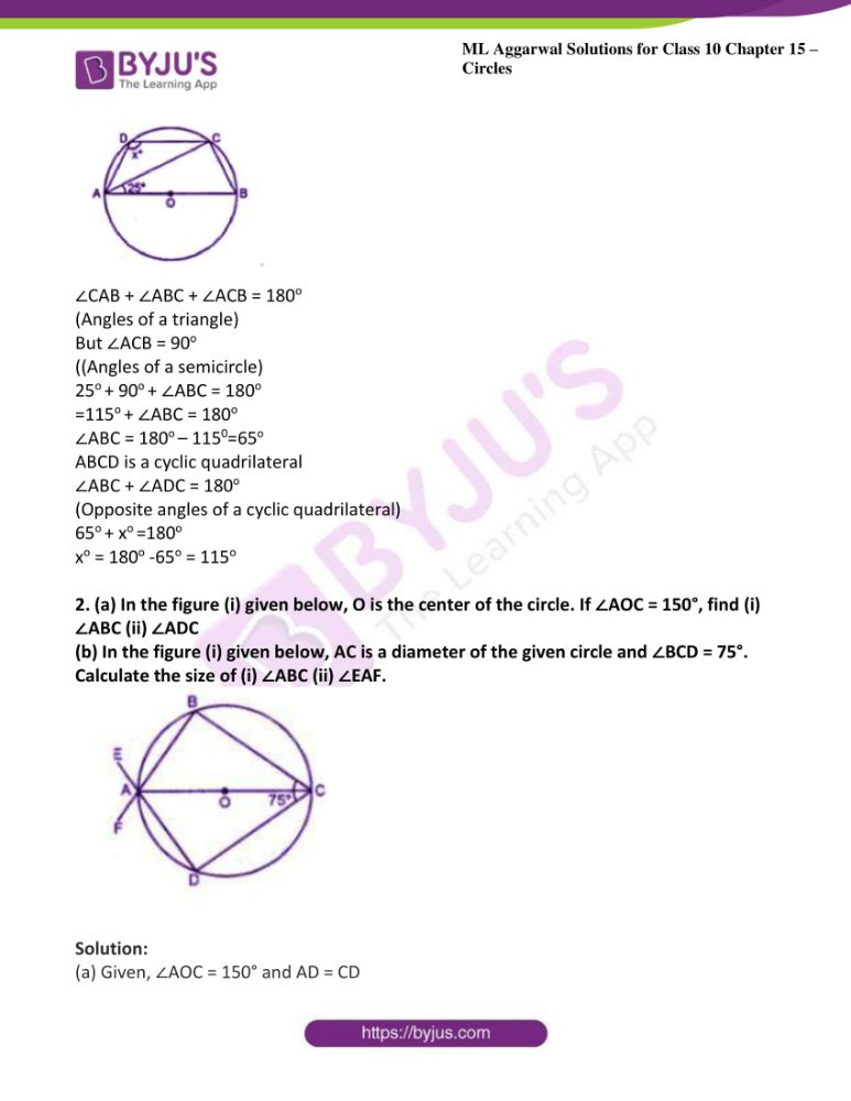 ml aggarwal solutions for class 10 maths chapter 15 circles 18
