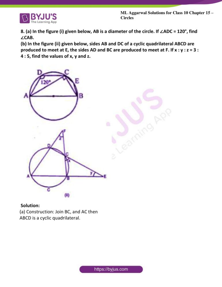 ml aggarwal solutions for class 10 maths chapter 15 circles 27