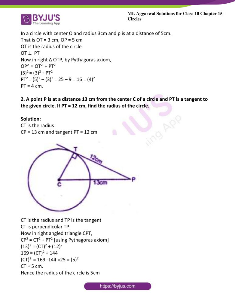 ml aggarwal solutions for class 10 maths chapter 15 circles 29