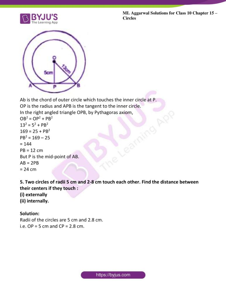 ml aggarwal solutions for class 10 maths chapter 15 circles 31