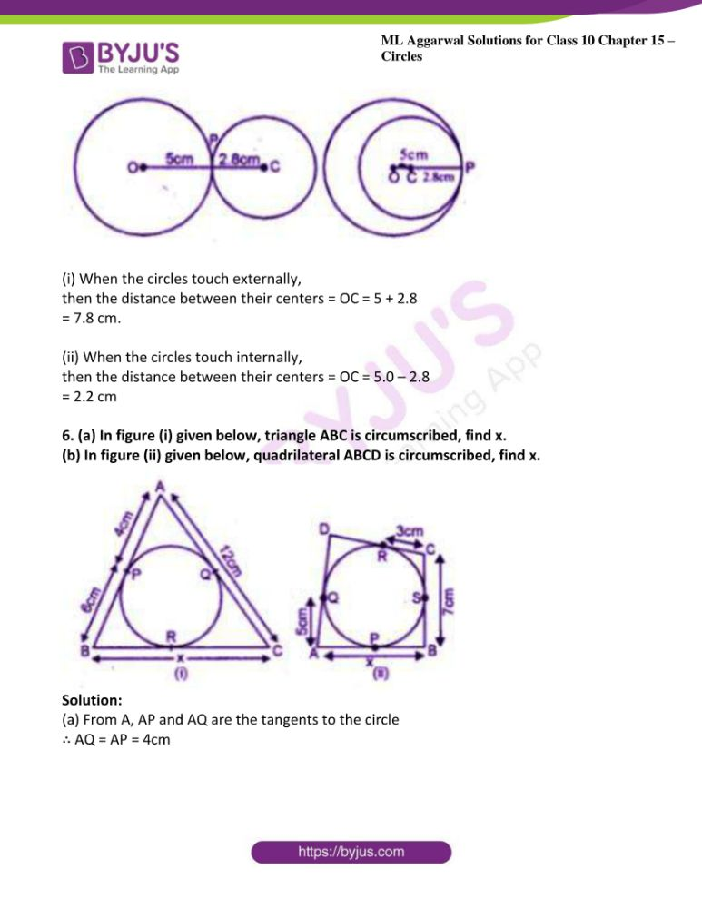 ml aggarwal solutions for class 10 maths chapter 15 circles 32