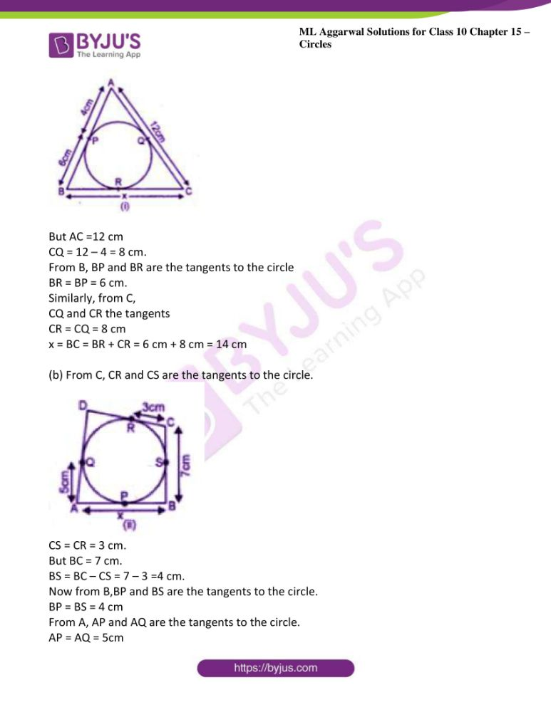 ml aggarwal solutions for class 10 maths chapter 15 circles 33