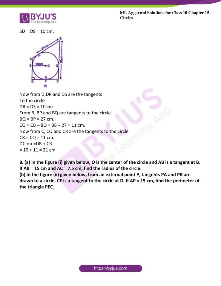 ml aggarwal solutions for class 10 maths chapter 15 circles 35