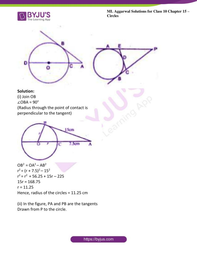 ml aggarwal solutions for class 10 maths chapter 15 circles 36