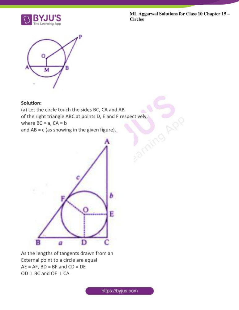 ml aggarwal solutions for class 10 maths chapter 15 circles 38